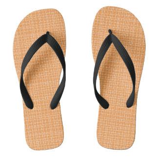Orange Crosshatch Flip Flops
