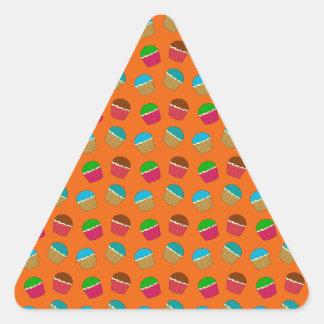 Orange cupcake pattern triangle stickers