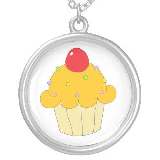 Orange Cupcake Round Pendant Necklace