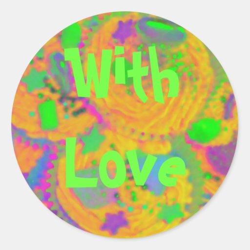 Orange Cupcakes 'With Love' sticker