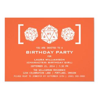 Orange D20 Dice Gamer Birthday Party Invite