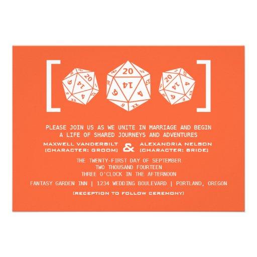 Orange D20 Dice Gamer Wedding Invitation