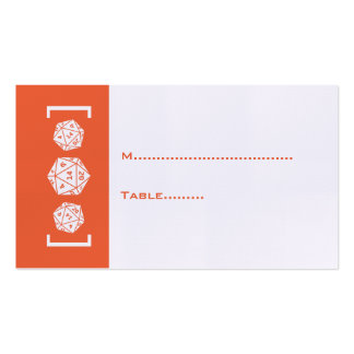 Orange D20 Dice Gamer Wedding Place Card Business Card Templates