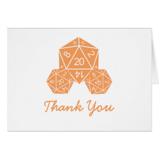 Orange D20 Dice Thank You Card