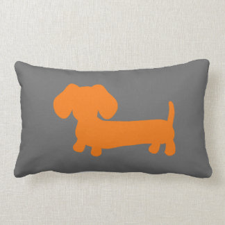 Orange Dachshund on Dark Gray Lumbar Pillow