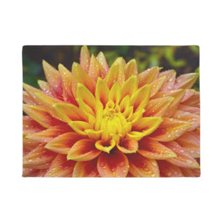 Orange dahlia flower doormat