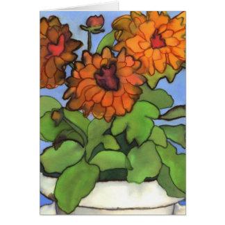 Orange Dahlia Greetings Card