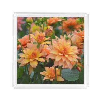 Orange dahlias acrylic tray