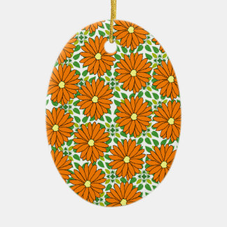 orange daisies on green leaves christmas ornament