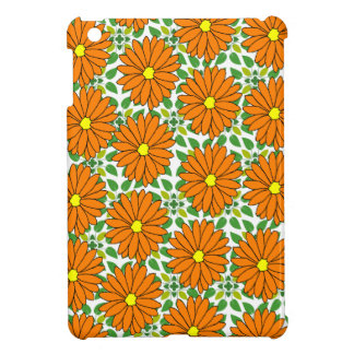 orange daisies on green leaves iPad mini case