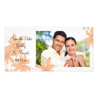 Orange Daisies on White Wedding Save the Date Personalised Photo Card