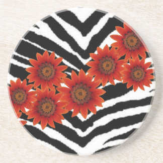 ORANGE DAISIES ON ZEBRA PRINT COASTER