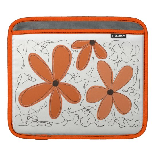 Orange Daisies & Scribbles iPad Sleeve