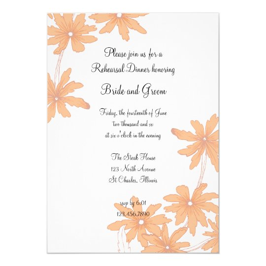 Orange Daisies Wedding Rehearsal Dinner Invitation