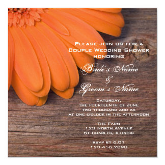 Orange Daisy and Barn Wood Couples Wedding Shower 13 Cm X 13 Cm Square Invitation Card