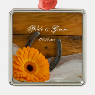 Orange Daisy and Horseshoe Country Western Wedding Christmas Ornament