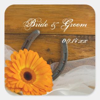 Orange Daisy and Horseshoe Country Western Wedding Square Sticker