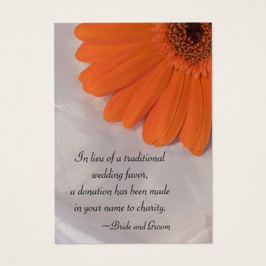 Orange Daisy and Satin Wedding Charity Favour Card
