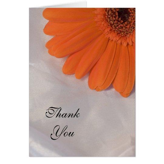 Orange Daisy and White Satin Thank You Card