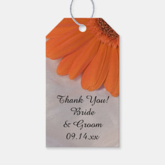 Orange Daisy and White Satin Wedding Favor Tags