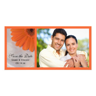 Orange Daisy and White Satin Wedding Save the Date Personalised Photo Card