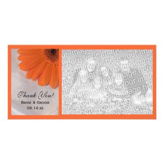 Orange Daisy and White Satin Wedding Thank You Card