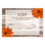 Orange Daisy Barn Wood Wedding RSVP Response Card Personalised Invitation