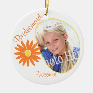 Orange Daisy Bridesmaid Photo Round Ceramic Decoration
