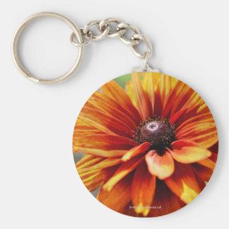 Orange Daisy Flower Photo Keychain Keyring