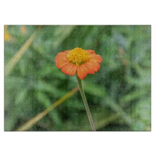 Orange daisy glass cutting board