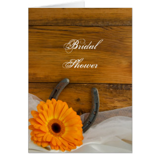 Orange Daisy Horseshoe Bridal Shower Invitation