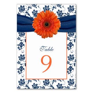 Orange Daisy Navy Blue Damask Ribbon Wedding Card