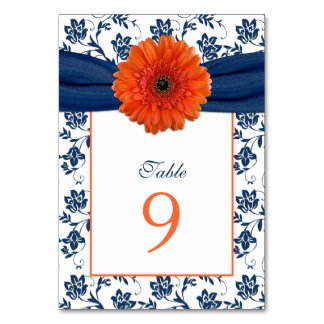 Orange Daisy Navy Blue Damask Ribbon Wedding Table Cards