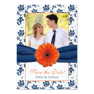 Orange Daisy Navy Damask Photo Save the Date Card