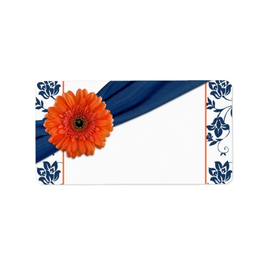 Orange Daisy Navy Damask Wedding Blank Address Label