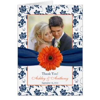 Orange Daisy Navy Damask Wedding Thank You Card