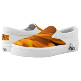 Orange Daisy Petals on Black Slip On Shoes