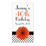 Orange Daisy Polka Dot Birthday Labels Favour Tags