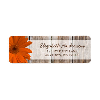 Orange Daisy Rustic Barn Wood Address Labels