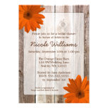 Orange Daisy Rustic Barn Wood Bridal Shower Personalized Invite