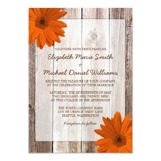 Orange Daisy Rustic Barn Wood Wedding 13 Cm X 18 Cm Invitation Card