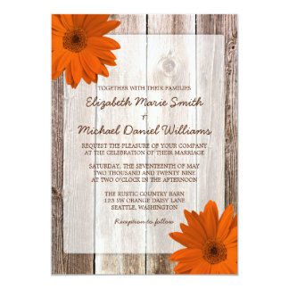 Orange Daisy Rustic Barn Wood Wedding Card