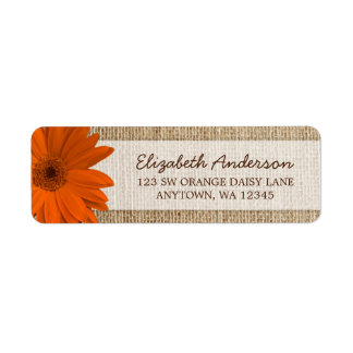 Orange Daisy Rustic Burlap Address