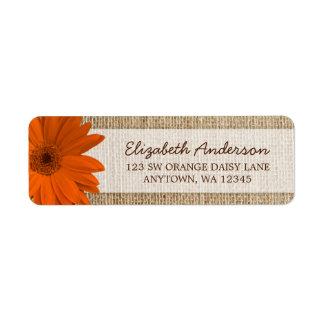 Orange Daisy Rustic Burlap Address Return Address Label
