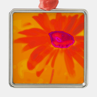 Orange Daisy Silver-Colored Square Decoration