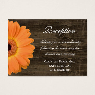 Orange Daisy Wedding Reception Direction Card