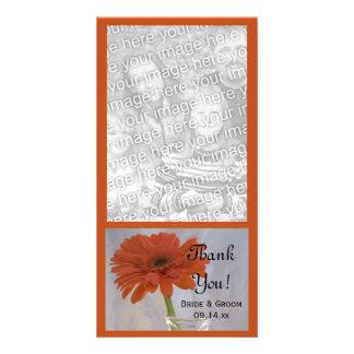 Orange Daisy Wedding Thank You Photo Card