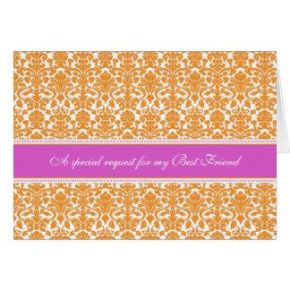 Orange Damask Best Friend Bridesmaid Invitation Greeting Card