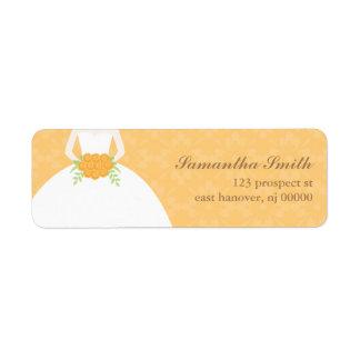 Orange Damask Bridal Shower Return Address Label