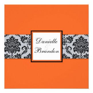 Orange Damask Monogram Wedding Invitation
